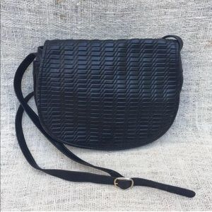 Vintage Navy Blue Genuine Leather Weave Purse